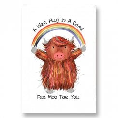 A Wee Hug In A Card Fae Moo Tae You Highland Cow Card JB15
