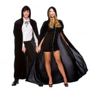 Adult Deluxe Velvet Hooded Cape Black