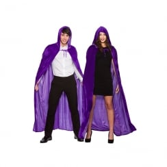 Adult Deluxe Velvet Hooded Cape Purple