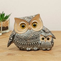 African Style Ornate Owl & Owlet 11cm Figurine
