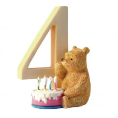 Age 4 Pooh With Birthday Cake Figurine