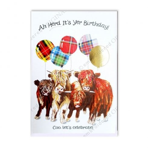 Embroidered Originals Ah Herd Its Yer Birthday Highland Coo Herd with Balloons Card