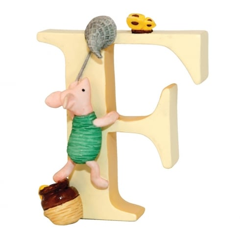 Classic Pooh Alphabet Letter F Piglet Catching Butterfly Figurine