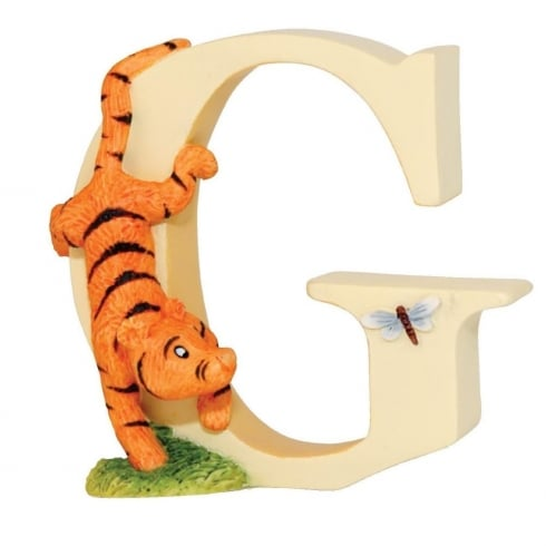Classic Pooh Alphabet Letter G Tigger With Dragonfly Figurine