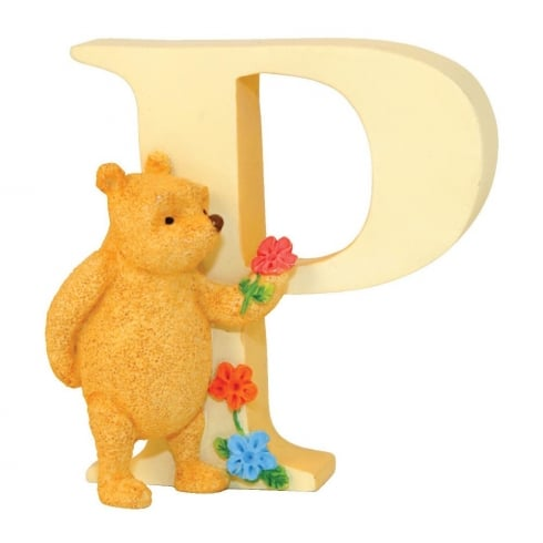 Classic Pooh Alphabet Letter P Winnie The Pooh With Flowers Figurine