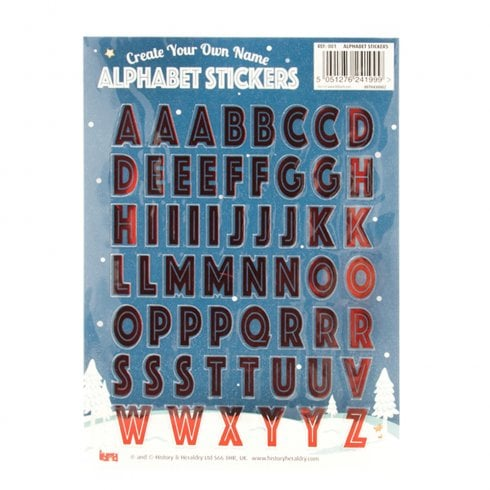 History & Heraldry Alphabet Stickers - For Personalising Blank 3D Honeycomb Christmas Cards