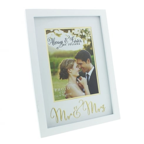 Impressions By Juliana Always & Forever Gold Words Mr & Mrs 5 x 7 Photo Frame