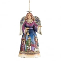 Angel With Nativity Scene Hanging Ornament