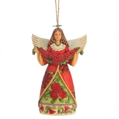 Angel With Poinsettia Hanging Ornament
