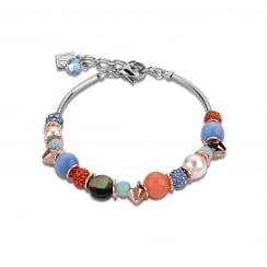Aqua-Orange Swarovski Crystal with Agate and Mother of Pearl Bracelet