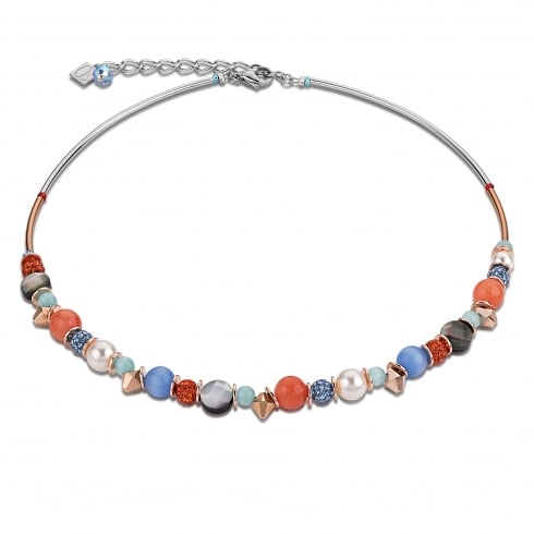 COEUR DE LION Aqua-Orange Swarovski Crystal with Agate and Mother of Pearl Necklace