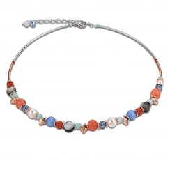 Aqua-Orange Swarovski Crystal with Agate and Mother of Pearl Necklace