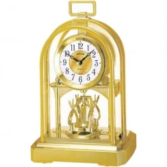 Arched Dome Gold Tone Spinning Pendulum Anniversary Carriage Clock