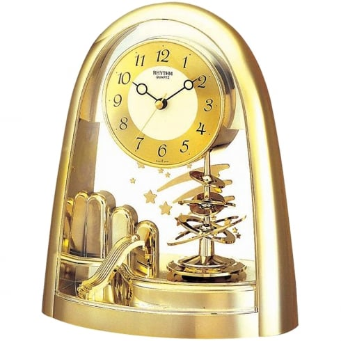 Arched Gold Tone Spiral Pendulum Mantel Clock with Shooting Star Detail