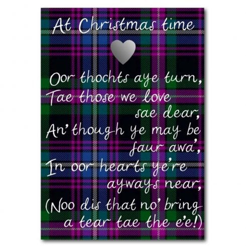 Embroidered Originals At Christmas Time Purple Tartan Card