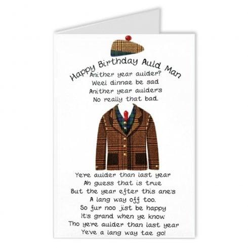 Embroidered Originals Auld Man Poem Scottish Birthday Card