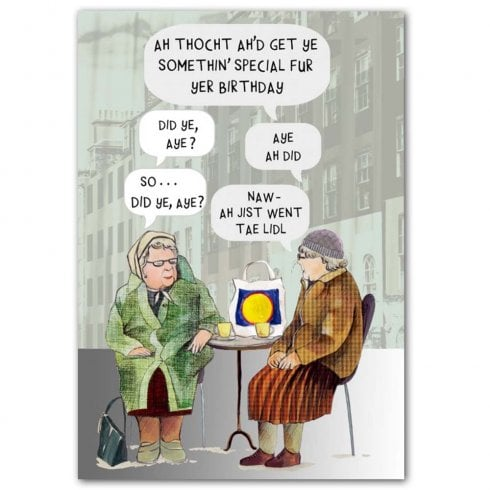 Embroidered Originals Auld Women Chatting Birthday Card