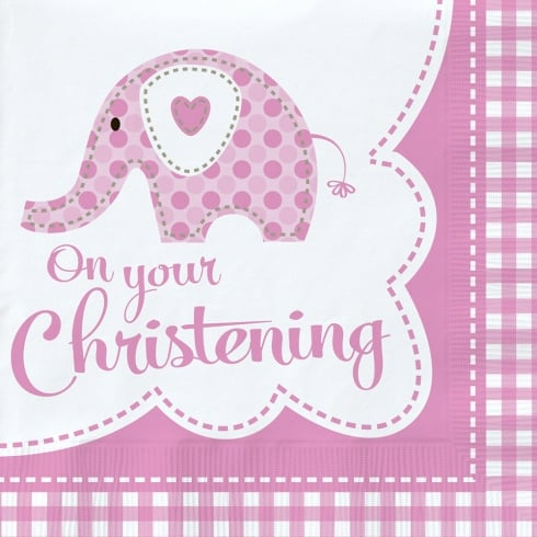 Creative Party Baby Elephant Pink Christening Napkins