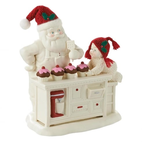Snowbabies Baking In The Kitchen With Santa