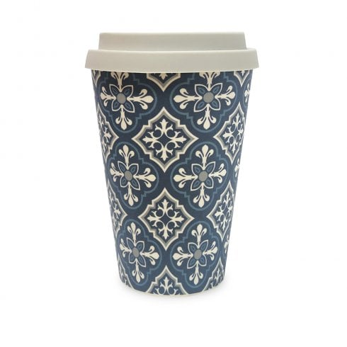 History & Heraldry Bamboo Eco Travel Mug - Ornate Tile Pattern