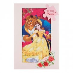 Beauty And The Beast With Jigsaw Puzzle Greetings Card 25482210