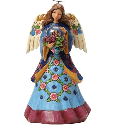 Jim Shore Heartwood Creek Beauty blooms - Angel With Flowers In Glass Dome