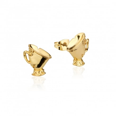 Disney Couture Beauty & The Beast Gold Plated Chip Earrings