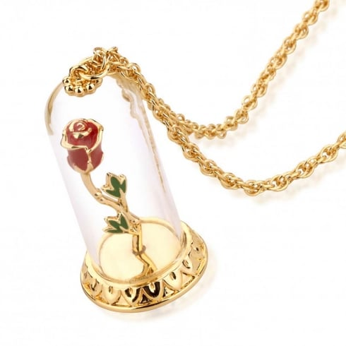 Disney Couture Beauty & The Beast Gold-Plated Enchanted Rose In Glass Bell Necklace