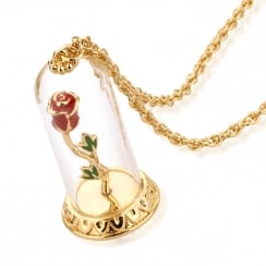 Beauty & The Beast Gold-Plated Enchanted Rose In Glass Bell Necklace