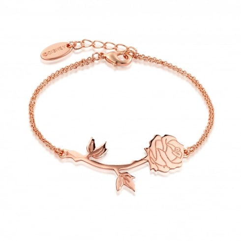 Disney Couture Beauty & The Beast Rose Gold Plated Rose Bracelet