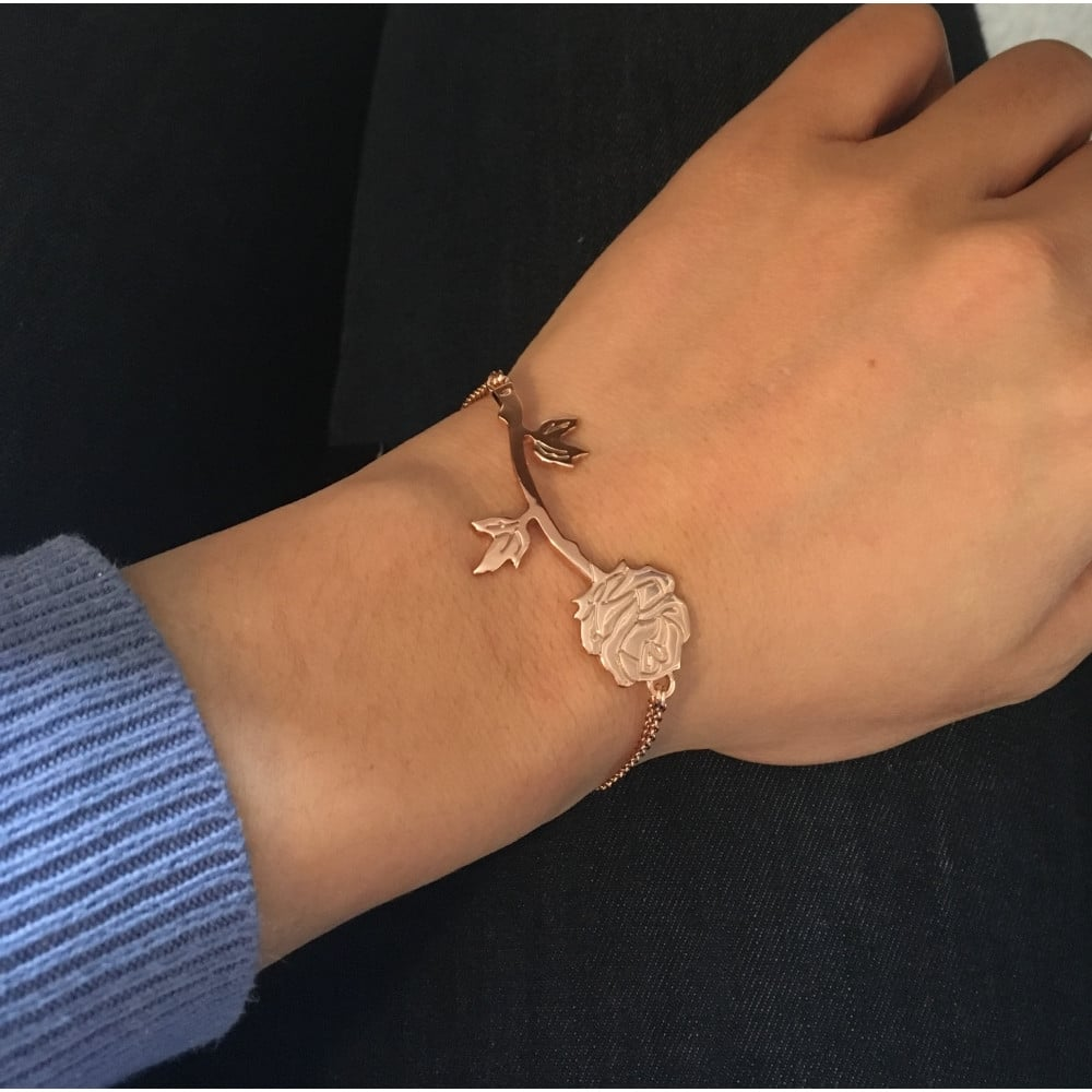 5b4d21822 ... Disney Couture Beauty & The Beast Rose Gold Plated Rose Bracelet