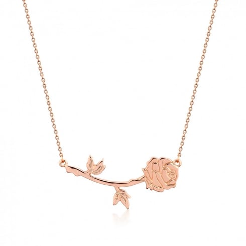 Disney Couture Beauty & The Beast Rose Gold Plated Rose Necklace