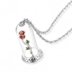 Beauty & The Beast White Gold-Plated Enchanted Rose In Glass Bell Necklaces