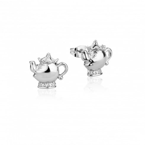 Disney Couture Beauty & The Beast White Gold Plated Mrs Potts Earrings