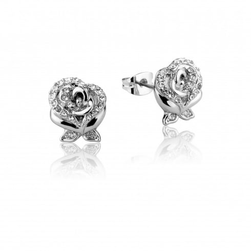 Disney Couture Beauty & The Beast White Gold Plated Rose Earrings