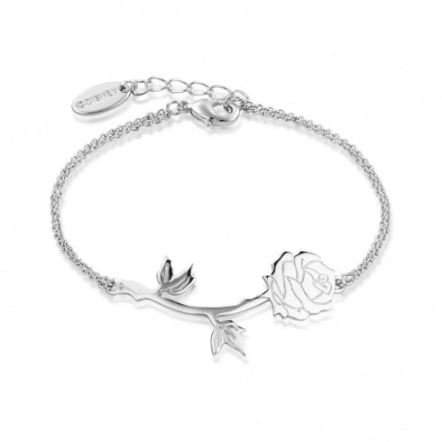 Disney Couture Beauty & The Beast White Gold Rose Bracelet
