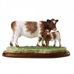 Beef Shorthorn Cow & Calf Figurine