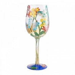 Bejeweled Butterfly Handpainted Wine Glass