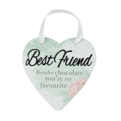 Reflective Words Best Friend Hanging Heart