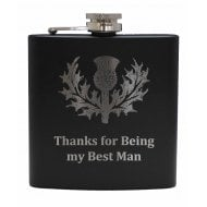 Best Man (with Thistle) engraved Black 6oz Hip Flask Box Set