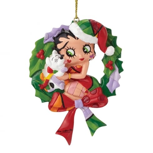 Romero Britto Betty Boop And Pudgy Wreath Hanging Ornament
