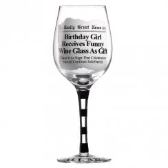 Birthday Girl Receives Funny Wine Glass As Gift Wine Glass