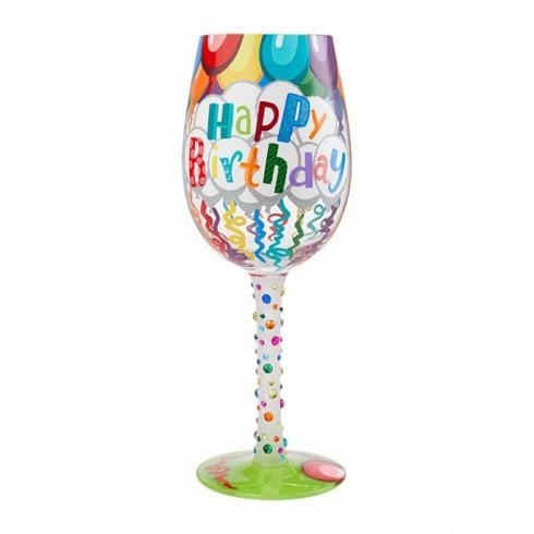 Lolita Birthday Streamers Handpainted Wine Glass