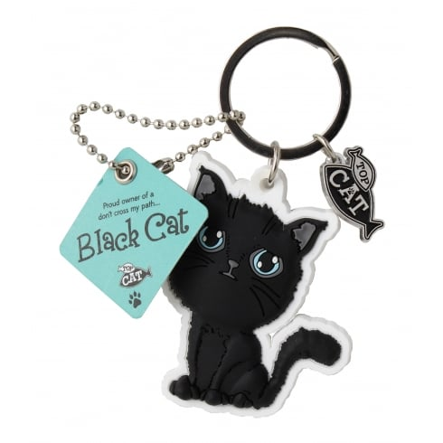 Wags & Whiskers Black Cat Cross Keyring