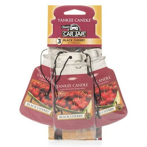 Yankee Candle Black Cherry Car Jar Air Freshener Pack Of 3