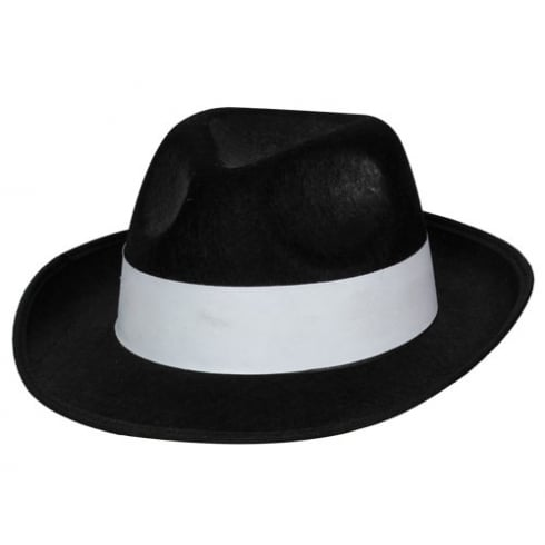 Wicked Costumes Black Felt Gangster Hat with White band