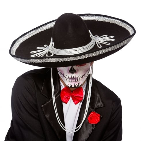 Wicked Costumes Black Sombrero - Day of the Dead