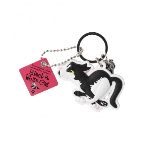 Wags & Whiskers Black & White Cat Keyring - Running
