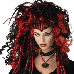 Black Widow Wig Black/Red