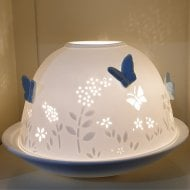 Blue Butterfly Tealight Candle Shade & Tray